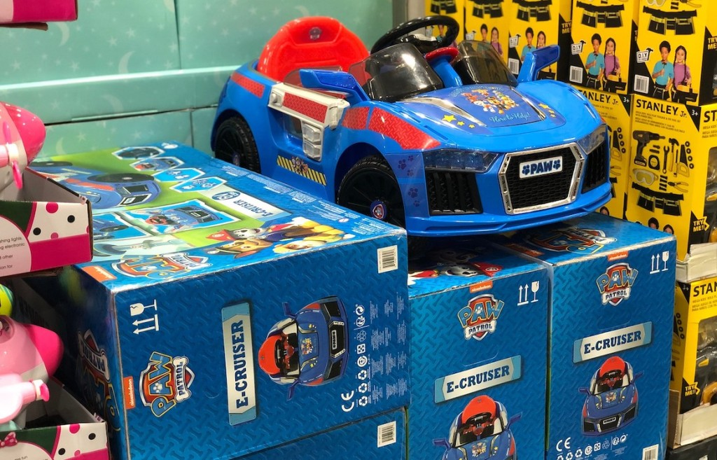 blue and red paw patrol ride on kids toy