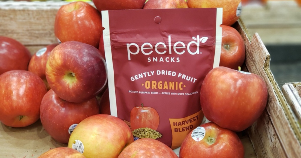 peeled snacks bag in with the apples