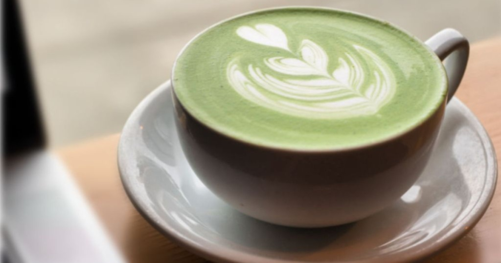 matcha in tea cup with heart design