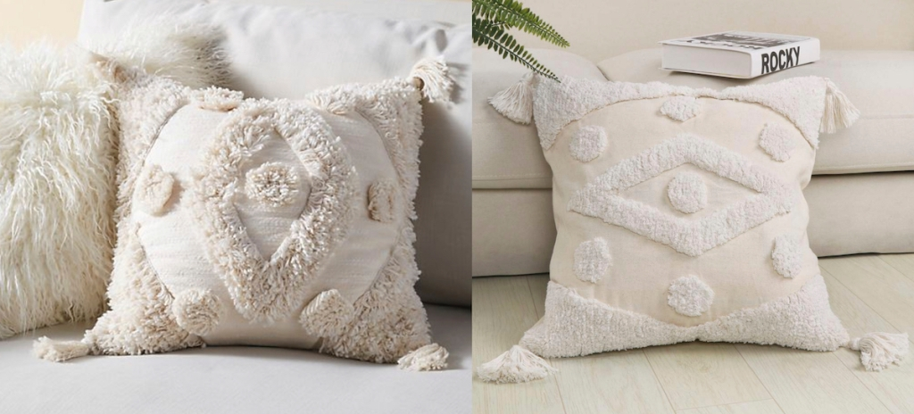 beige white fringe tassel throw pillows on couch