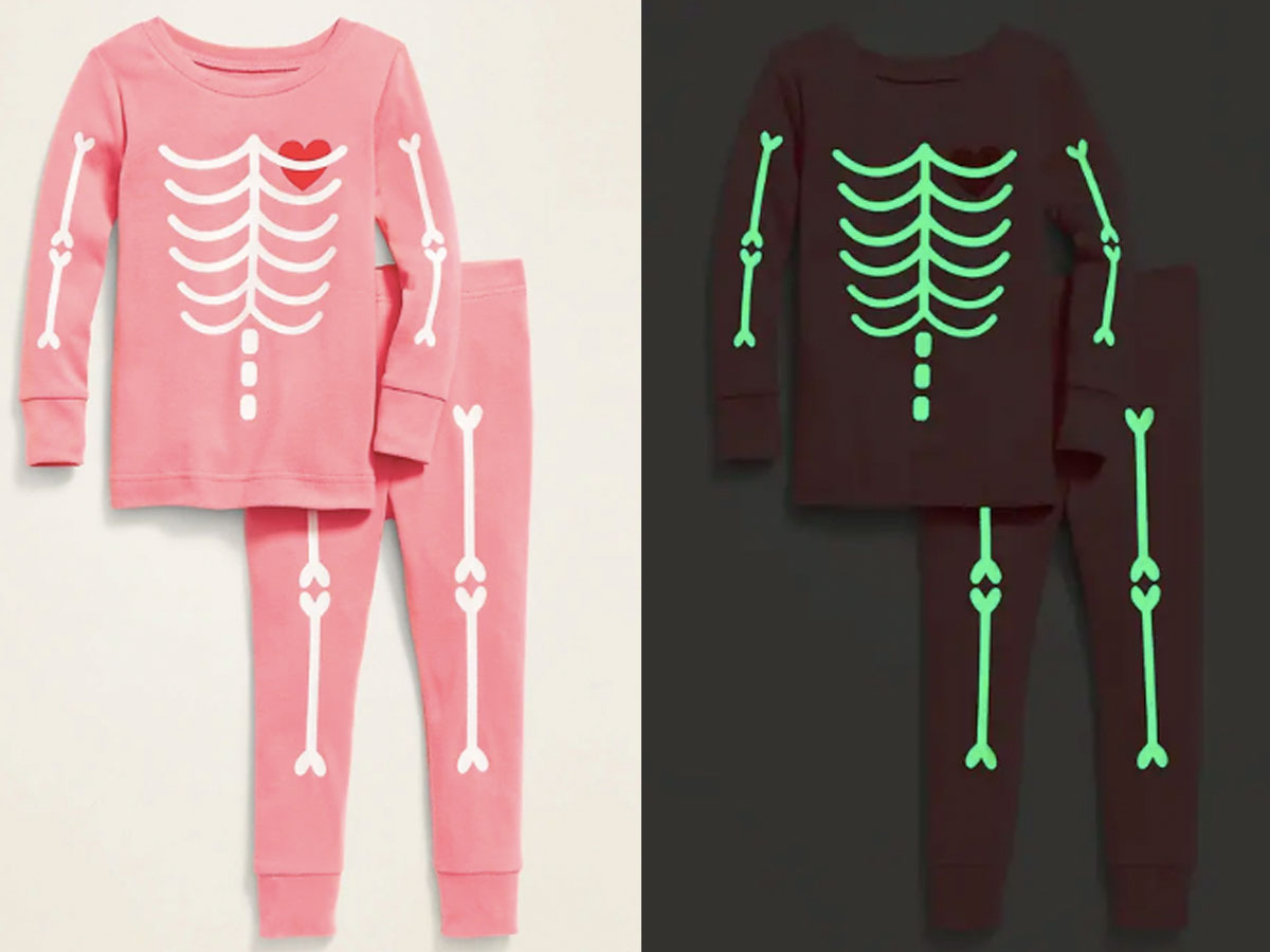 old navy pink skeleton glow in the dark pjs