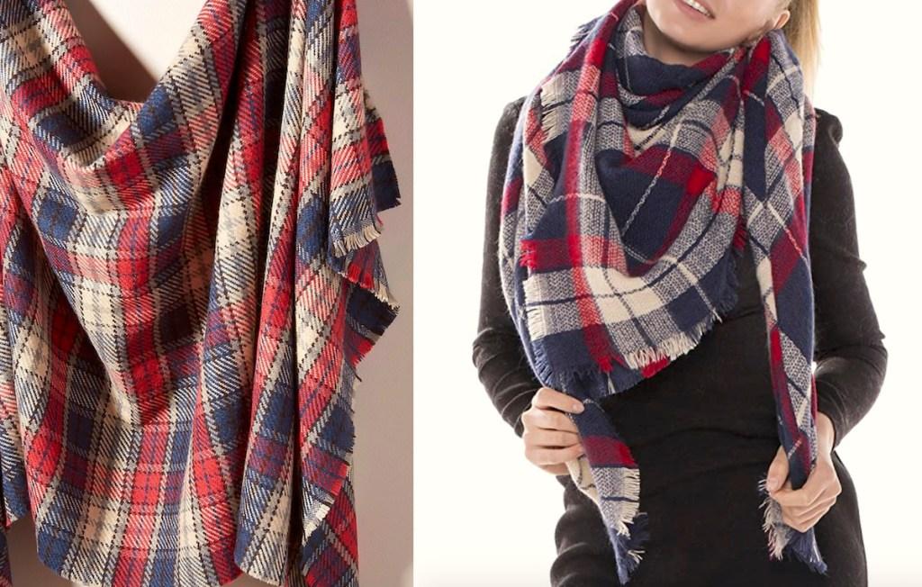 plaid scarf hanging next to women wearing scarf