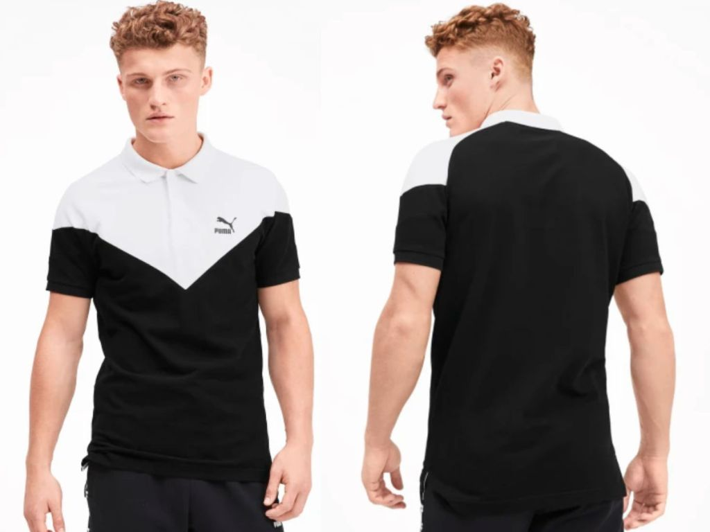 man modeling front and back of puma polo