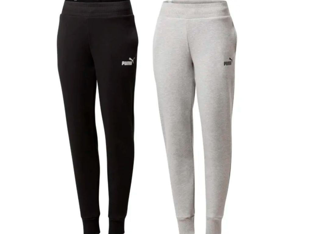 black and gray puma sweatpants with puma logo