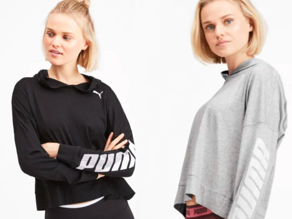 puma women's black and gray cover up hoodies
