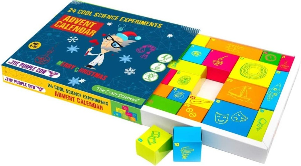 Advent calendar full of science experiments for kids