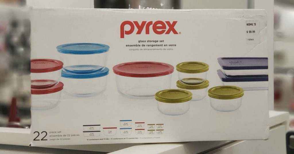 set of glass dishes in box at store
