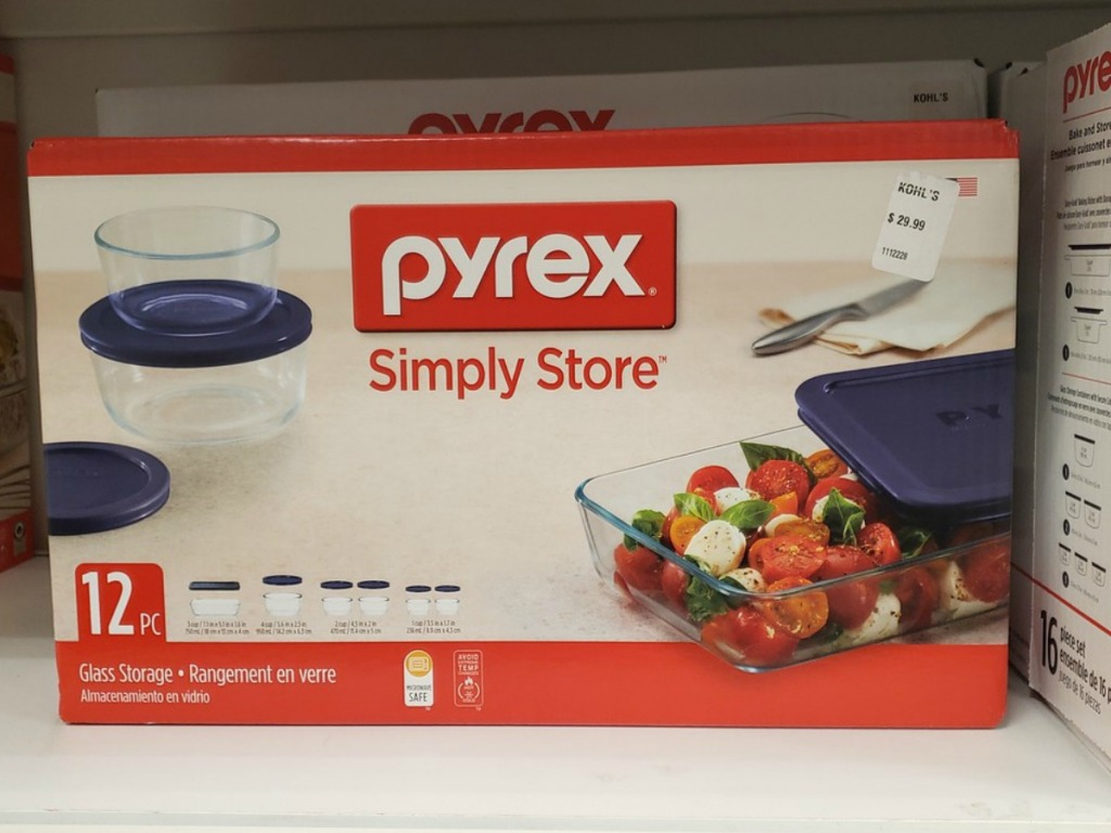 box on store shelf with pyrex glass dishes in it