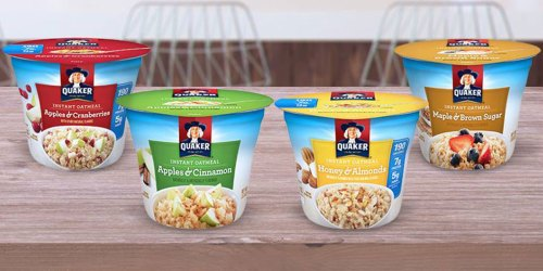 Quaker Instant Oatmeal 12-Count Cups Only $8 Shipped at Amazon | Just 68¢ Each