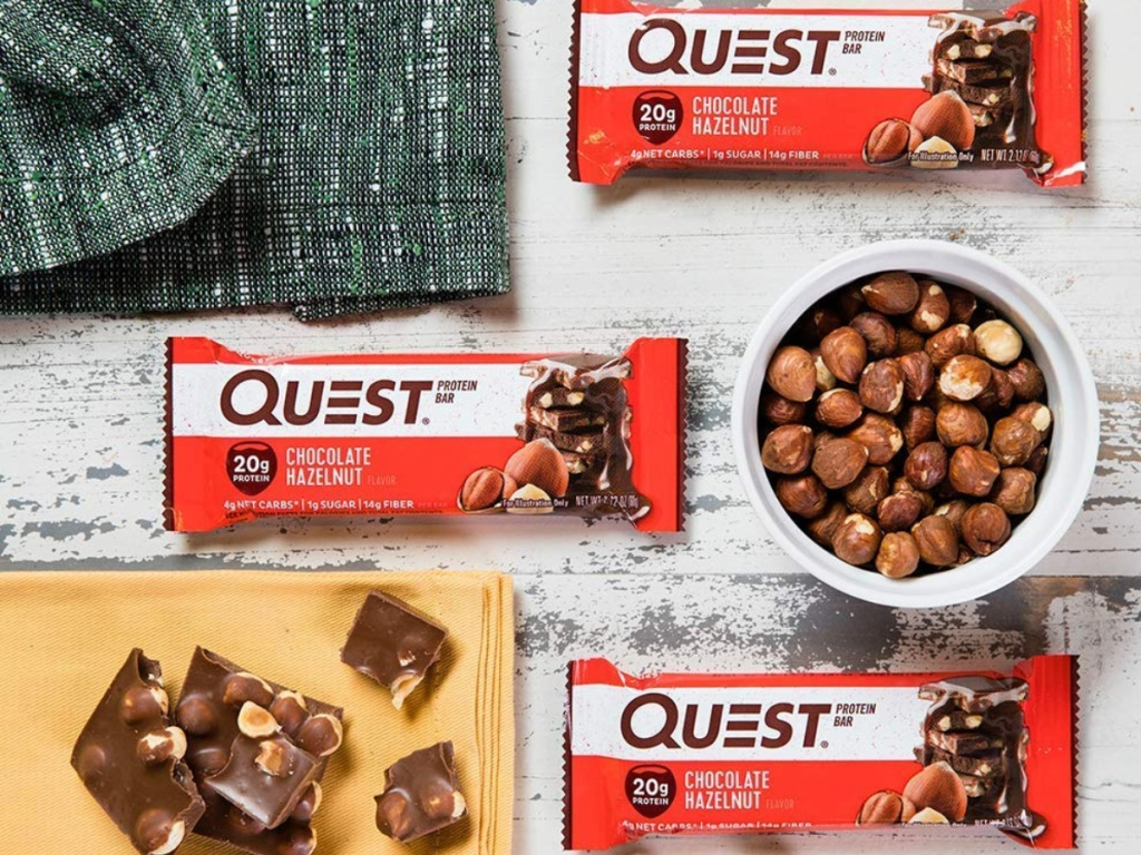 quest bars and bowl of hazelnuts