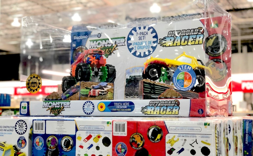box of truck racers sitting on top of boxes in store