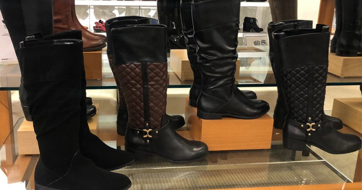 boots on display in store