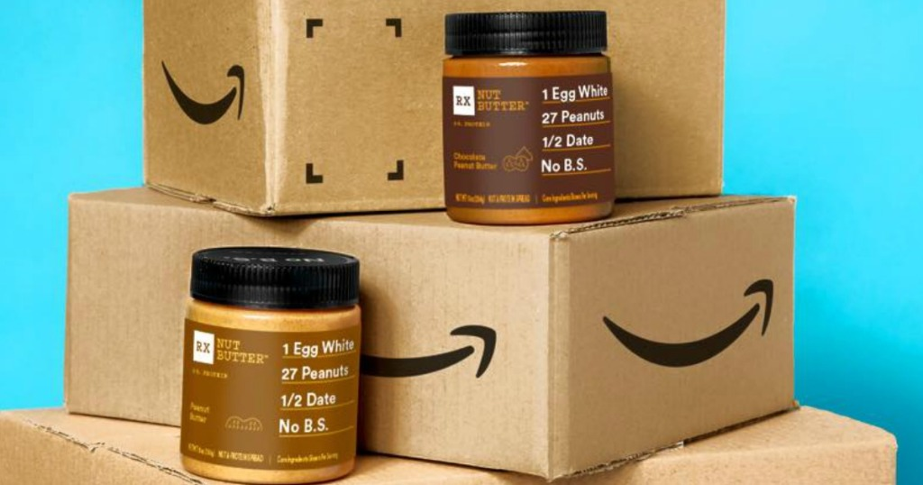 boxes from Amazon with peanut butter jars on them