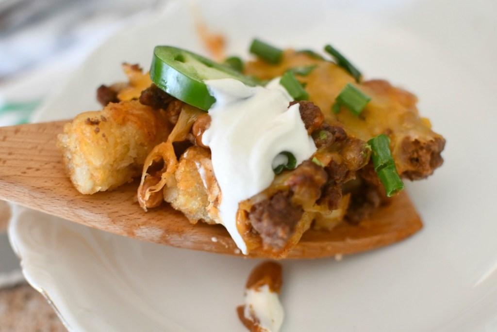scoop of tatertot nachos