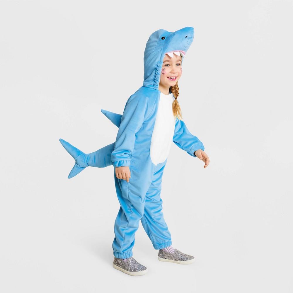 toddler shark costume on little girl