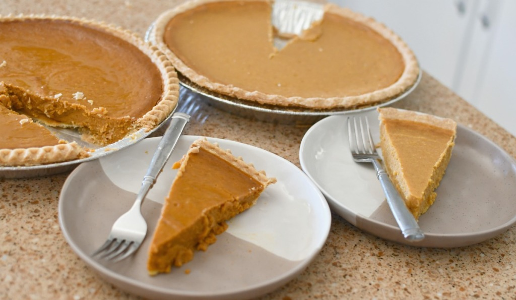 slices of sam's club and costco pumpkin pies