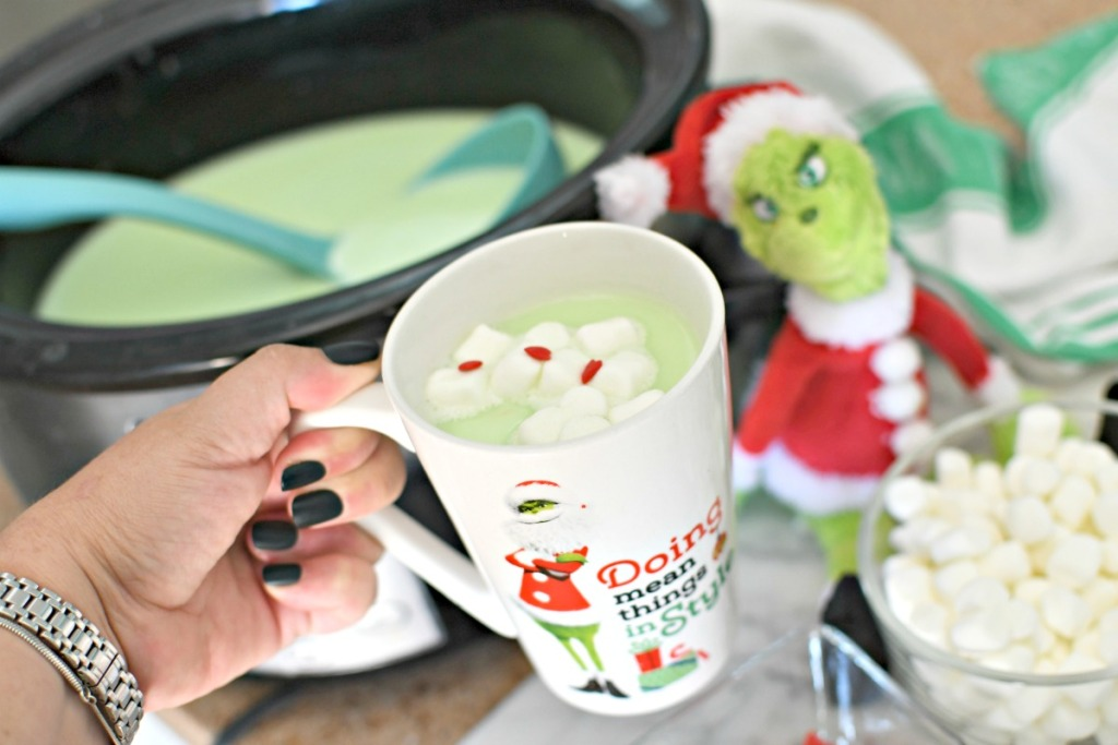 slow cooker grinch hot chocolate