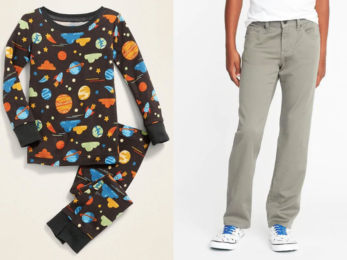boys space PJs and grey jeans