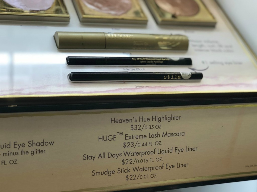 store display with eye liner
