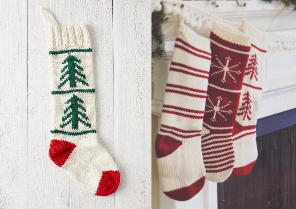 vintage christmas stockings hanging on fireplace mantel
