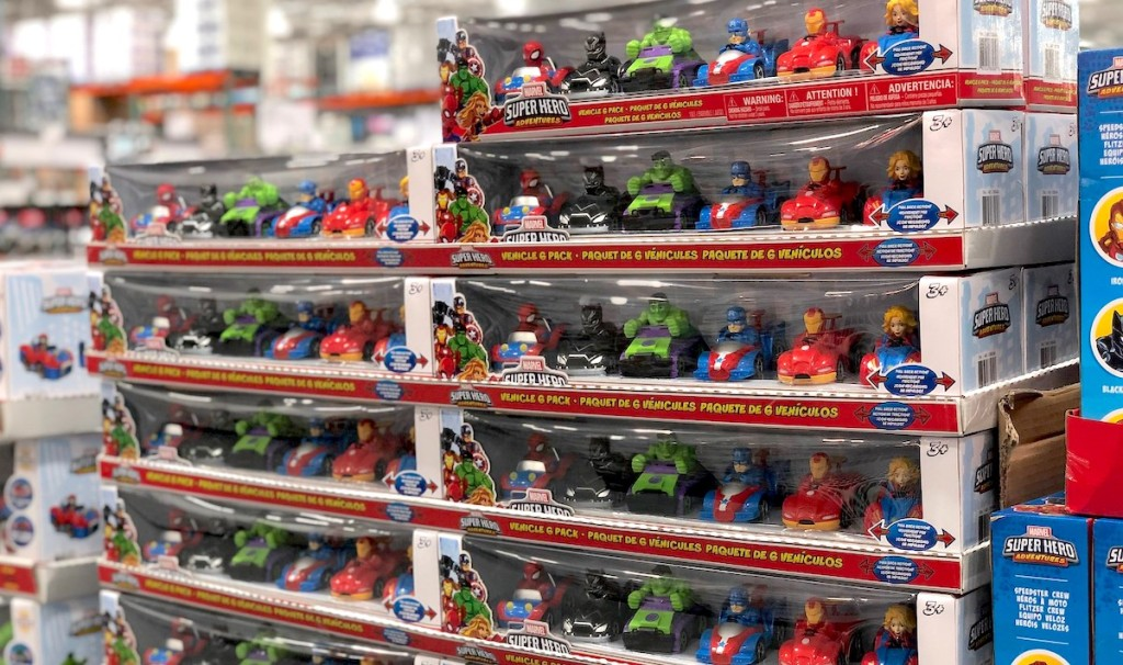 boxes lined with avengers super hero figurines