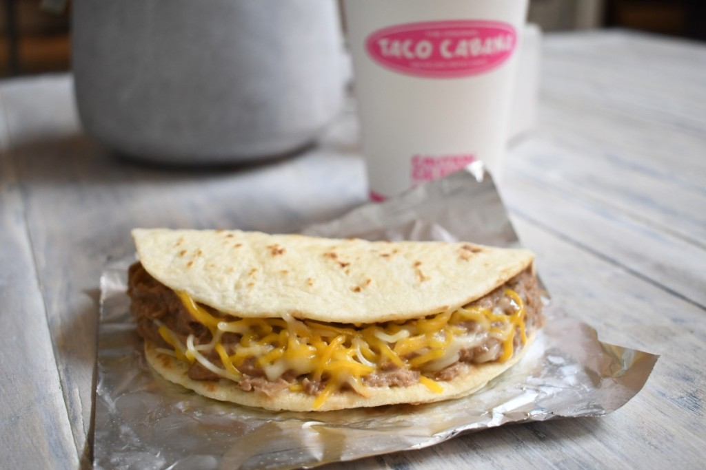 taco and fountain drink from Taco Cabana