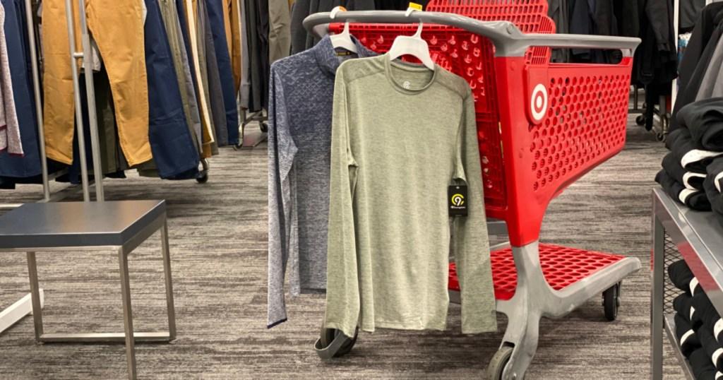 Target activewear hanging on Target cart