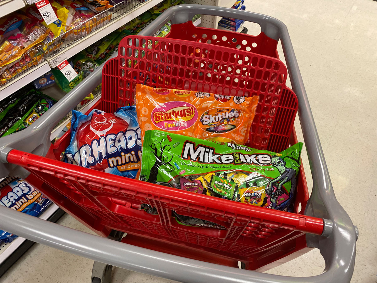 target cart full of halloween trick or treating candy