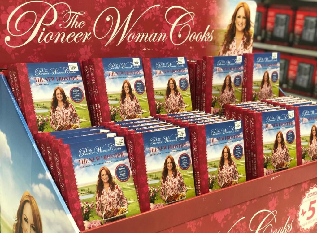 pioneer woman cookbooks on display at Walmart