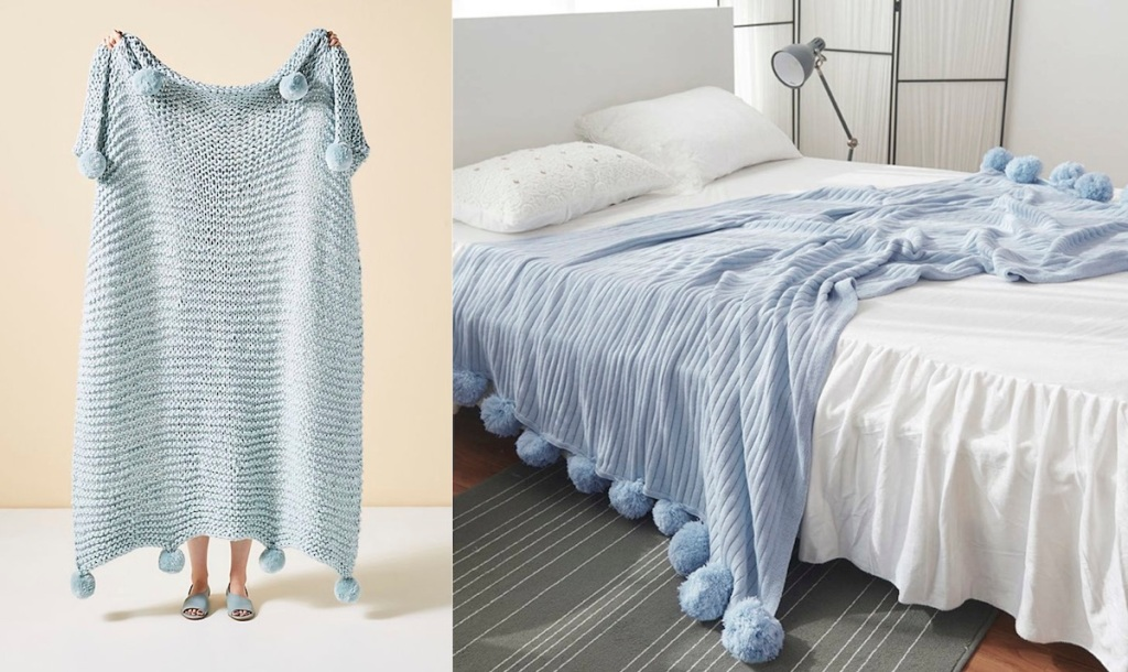 two blue pom throw blankets on bed