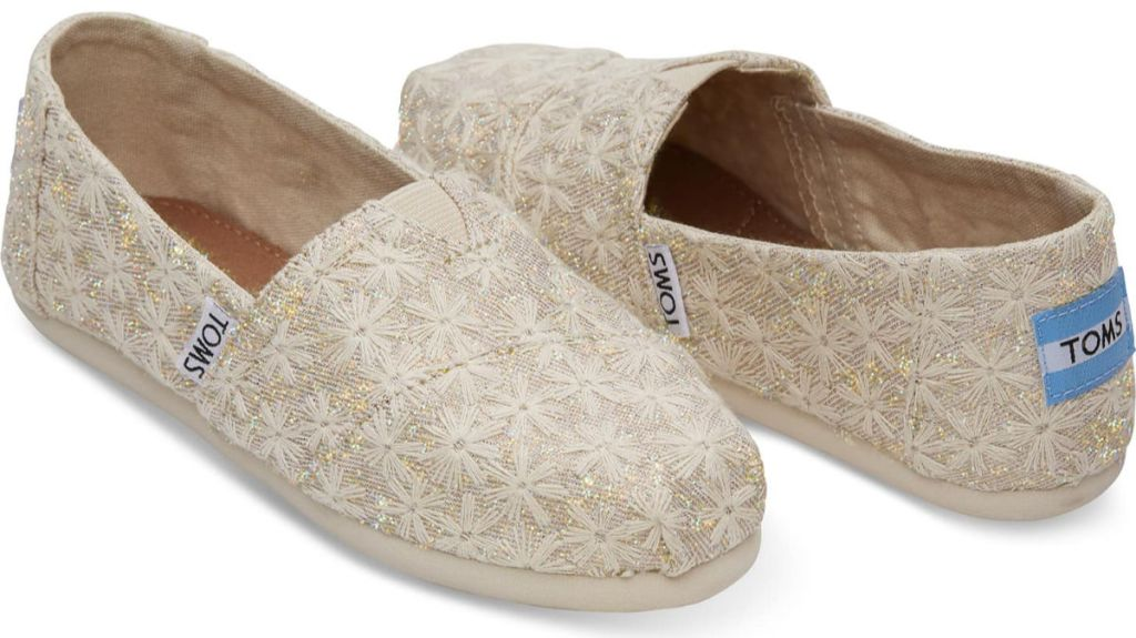 toms Natural Daisy Metallic Youth Classics