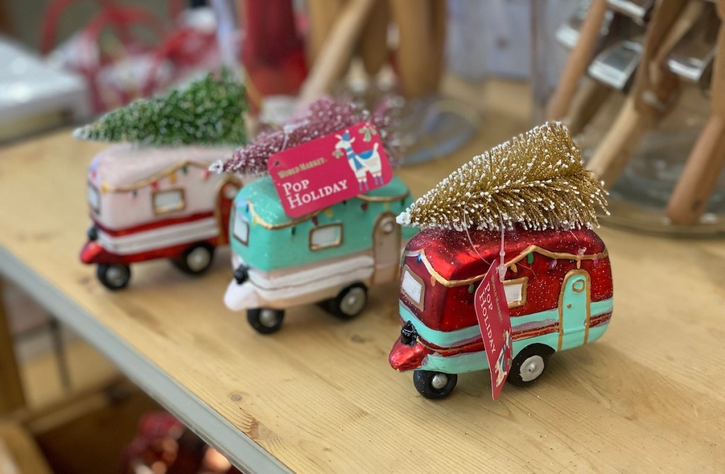 christmas trailers ornaments with trees on top