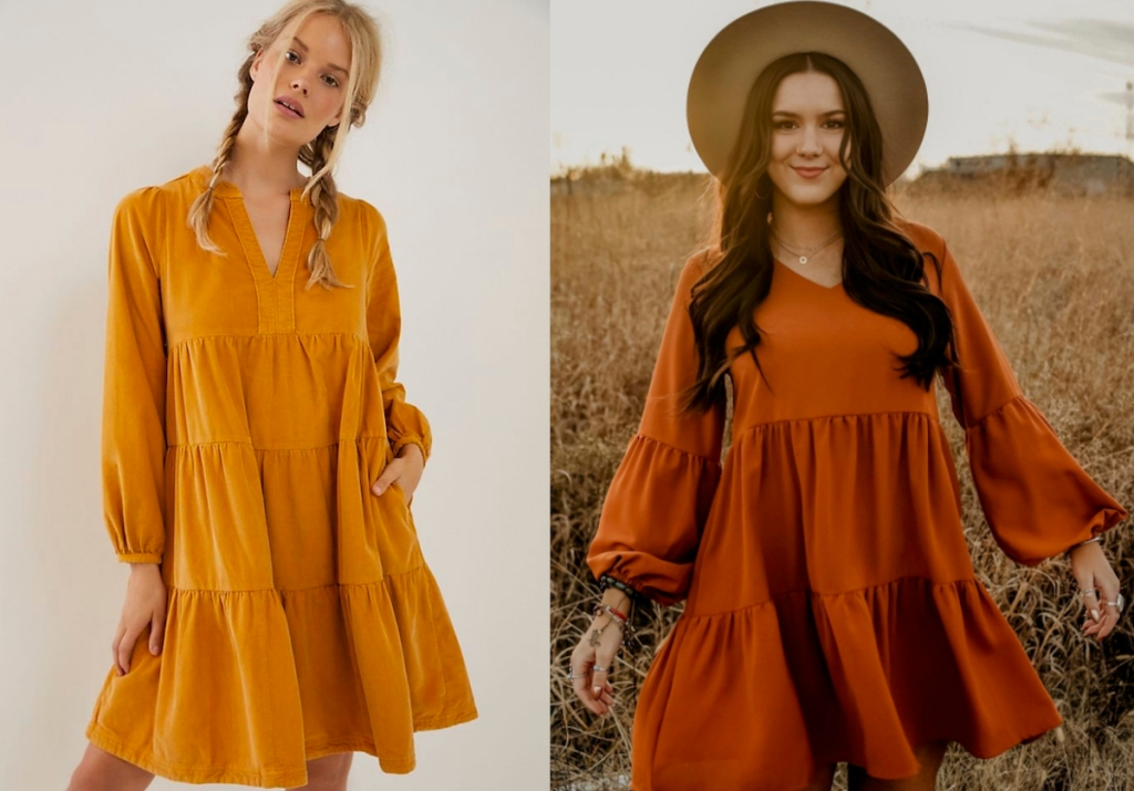 side by side of two women wearing gold and orange rust colors fall dresses