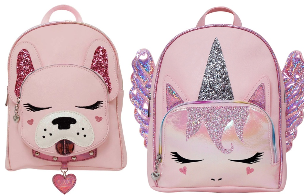 frenchie backpack and unicorn backpack
