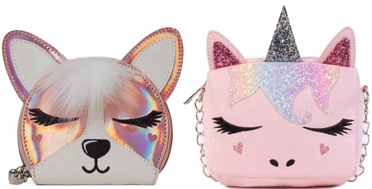 corgi coin purse and unicorn crossbody bag