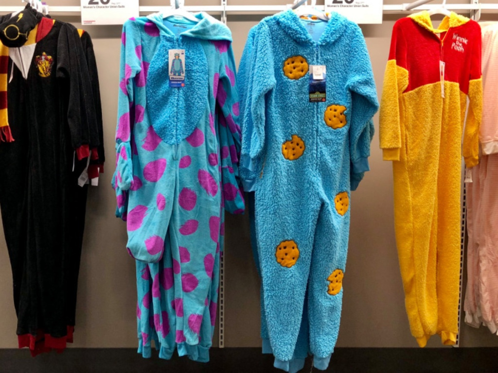 cookie monster union suit hanging in-store