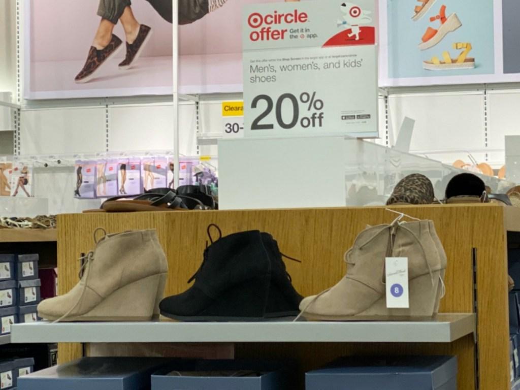 women's display of booties in store