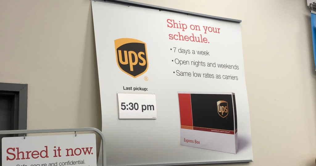 UPS sign at Staples