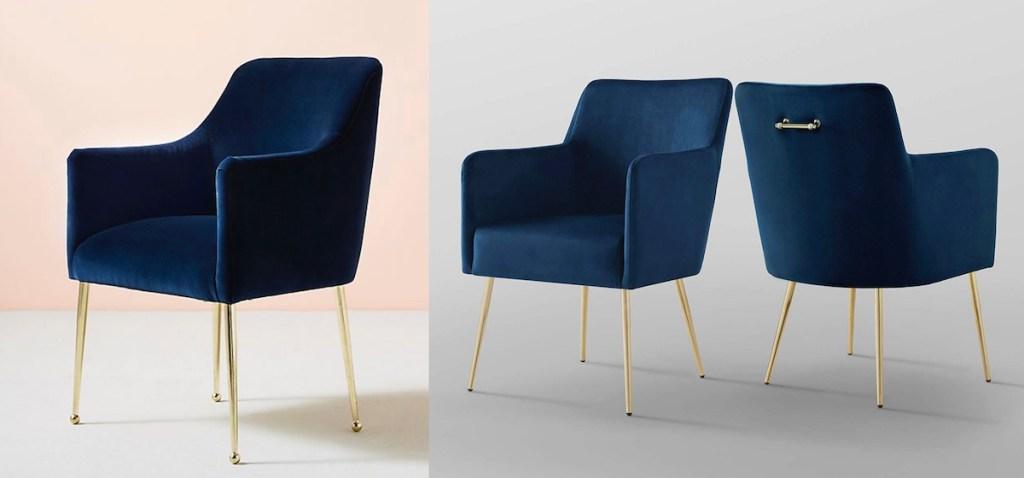 navy velvet chairs