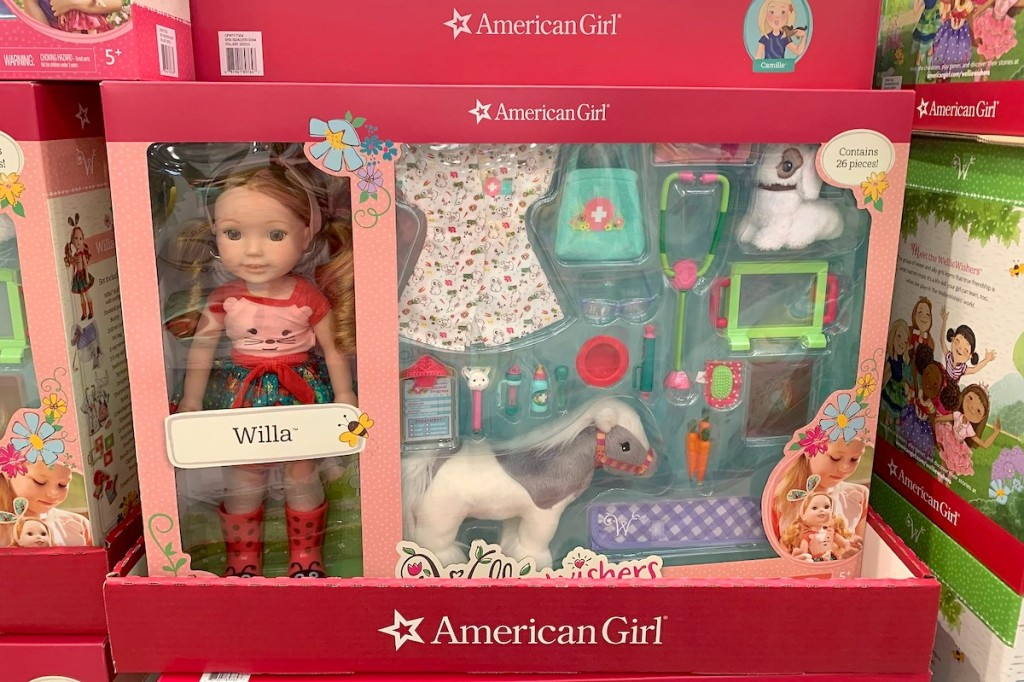 american girl doll vet set in pink box at store