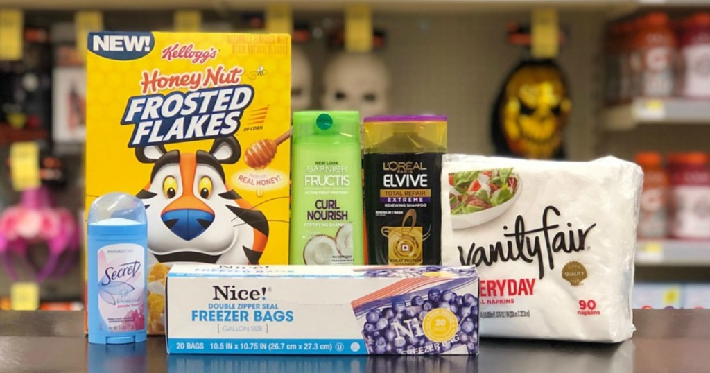kellogg's cereal, garnier and l'oreal hair care, secret deodorant, nice! freezer bags and vanity fair napkins at walgreens