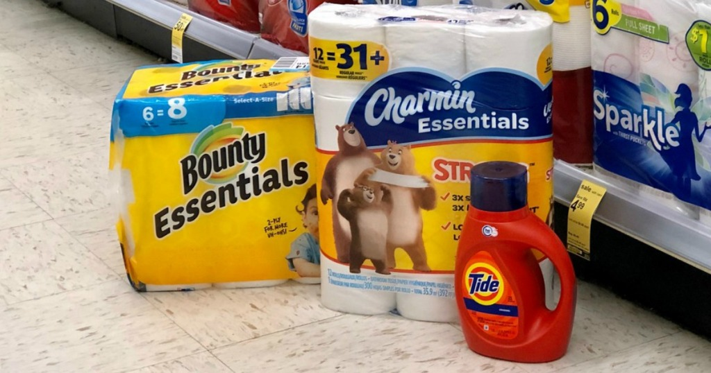 bounty paper towels, charmin toilet paper and tide laundry detergent at walgreens