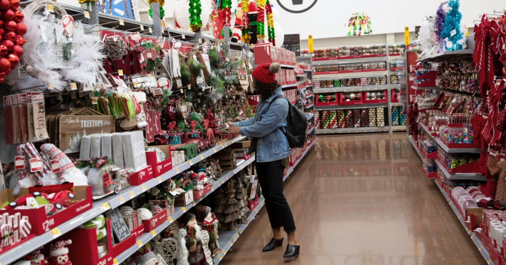 woman shopping the holiday section at Walmart
