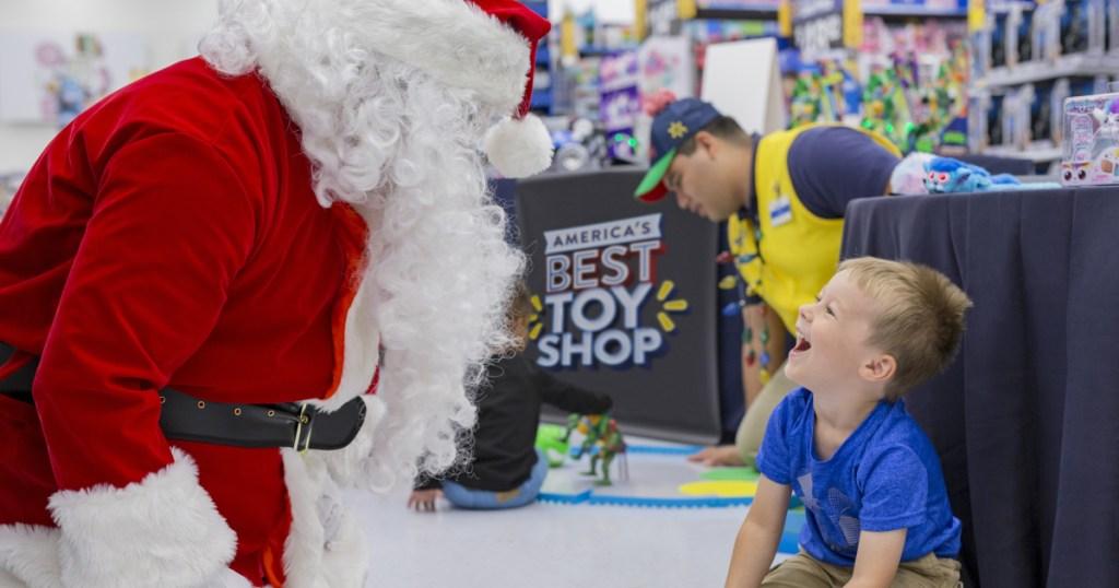 Santa with a boy at Walmart