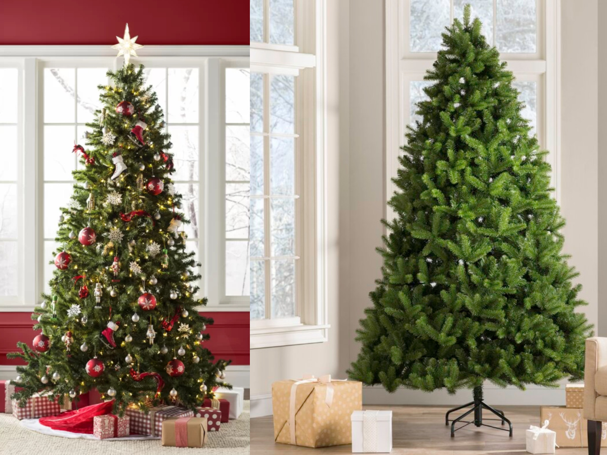 two christmas trees in living rooms with gifts under them