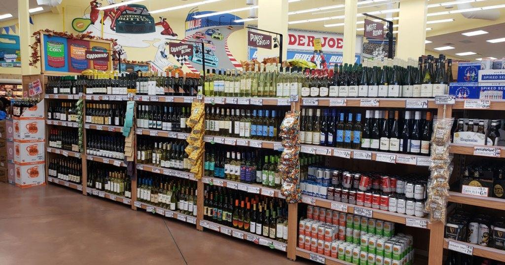 wine aisle at Trader Joe's