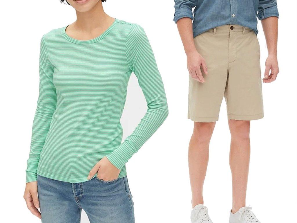 woman's long sleeve tshirt and men's shorts GAP