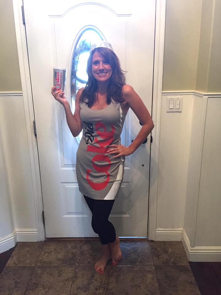 woman wearing Diet Coke costume