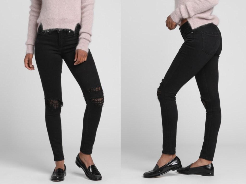 woman modeling silver jeans