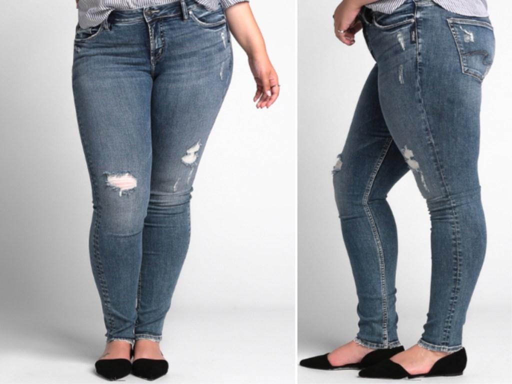 women modeling silver jeans